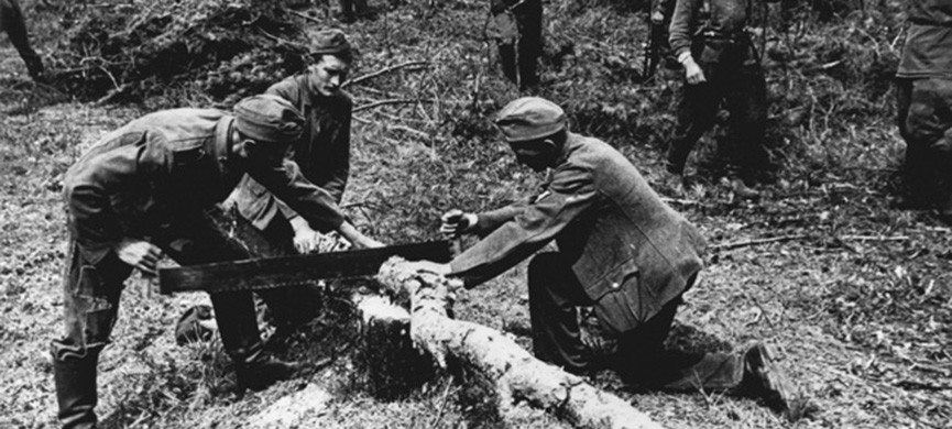 2-G56-G1-1943-12 German POWs sawing wood / WWII / 1943 History/ World War II/ Prisoners of war — Soviet Union 1943: German prisoners of war sawing wood. — Photo, 1943.