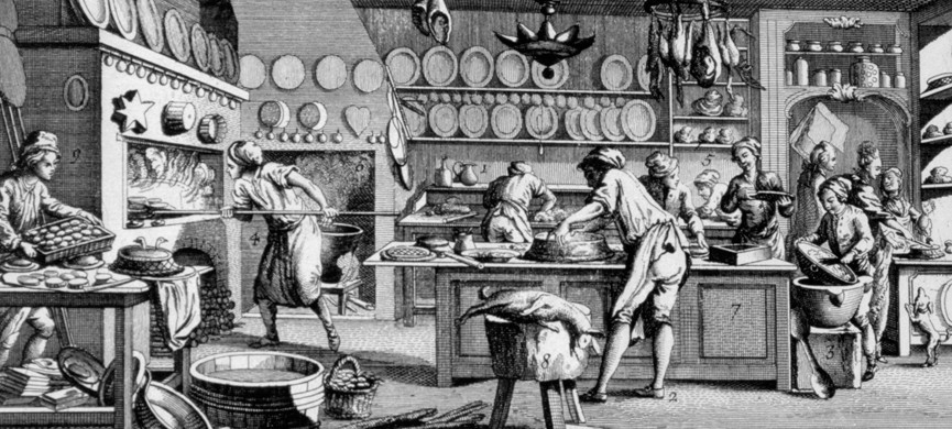Patisserie, 1751-1777. A print from the Encyclop?die, ou Dictionnaire Raisonn? des Sciences, des Arts et des M?tiers by Diderot & d'Alembert, 1751-1777. Private Collection. (Photo by Art Media/Print Collector/Getty Images)
