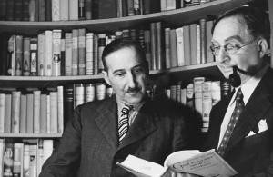 <p>Austrian novelist Stefan Zweig in conversation with his publisher W Huebsch of the Viking Publishing Company, circa 1930. (Photo by Three Lions/Hulton Archive/Getty Images)</p>