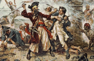 <p>SSI39781 The Capture of the Pirate Blackbeard, 1718 by Ferris, Jean Leon Gerome (1863-1930); Private Collection; American, out of copyright</p>