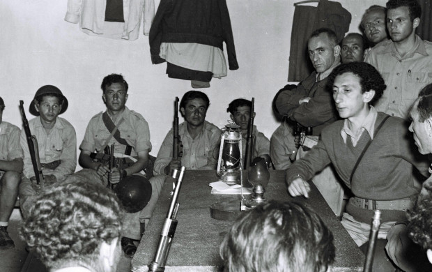 "<p>THE WAR OF INDEPENDENCE. IN THE PHOTO, ABBA KOVNER (R) BRIEFING ""HAGANA"" MEMBERS AT KIBBUTZ YAD MORDECHAI. ����� �������. ������, ��� ����� ����� ���� ����, ����� ����� �� �����.</p>"