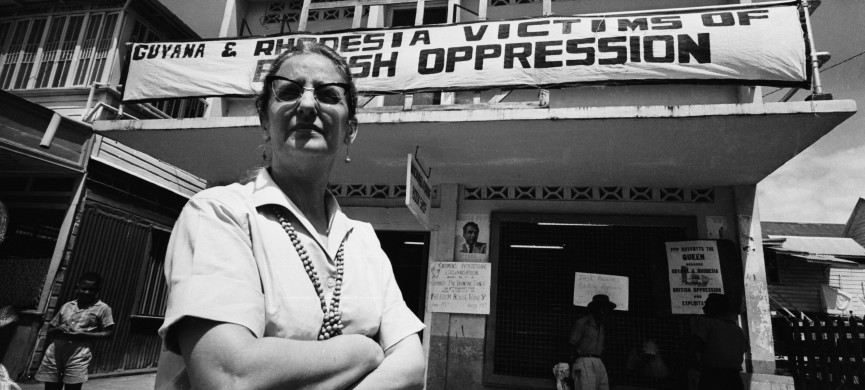<p>3rd February 1966: Janet Jagan, the wife of Cheddi Jagan, founder of the People's Progressive Party (PPP) campaigns against the 'British oppression' of British Guiana outside Freedom House. Only weeks later, the country became the independent republic of Guyana, and in 1997 Mrs Jagan was elected president after the death of her husband. (Photo by Harry Benson/Express/Getty Images)</p>