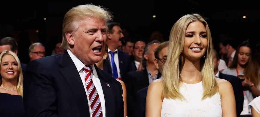 <p>CLEVELAND, OH - JULY 20: Republican presidential candidate Donald Trump and Ivanka Trump attend the third day of the Republican National Convention on July 20, 2016 at the Quicken Loans Arena in Cleveland, Ohio. Republican presidential candidate Donald Trump received the number of votes needed to secure the party's nomination. An estimated 50,000 people are expected in Cleveland, including hundreds of protesters and members of the media. The four-day Republican National Convention kicked off on July 18. (Photo by Joe Raedle/Getty Images)</p>