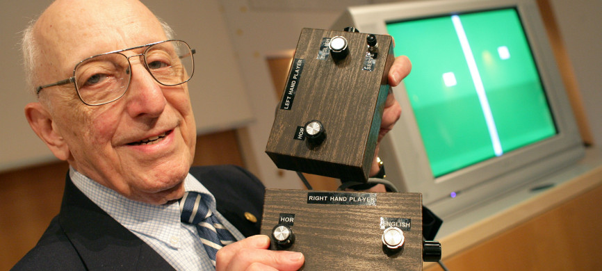 <p>German-American game developer Ralph Baer shows the prototype of the first games console which was invented by him during a press conference on the Games Convention Online in Leipzig, Germany in 2009. Baer died on Saturday. He was 92.</p>