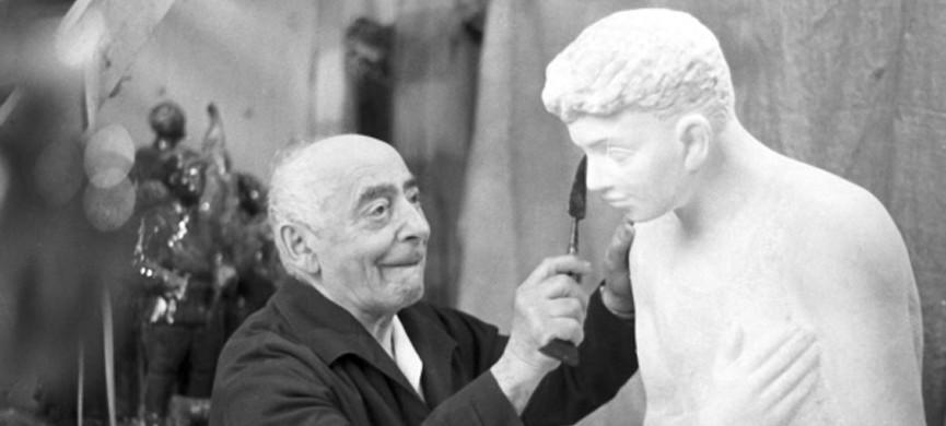 <p>Советский скульптор, заслуженный художник РСФСР Исидор Григорьевич Фрих-Хар за работой.</p>