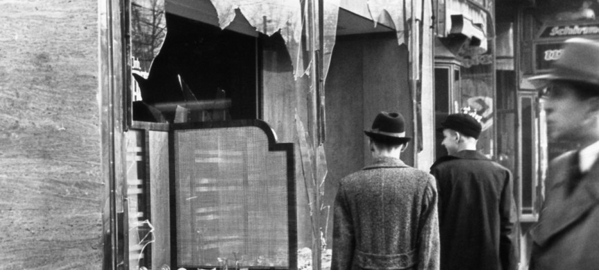 "Businesses and properties owned by Jews were the target of vicious Nazi mobs during a night of vandalism that is known as ""Kristallnacht"". (Photo by © Bettmann/CORBIS/Bettmann Archive)"
